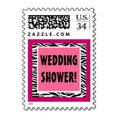 Pink and Black Zebra Wedding Shower G202 Stamps