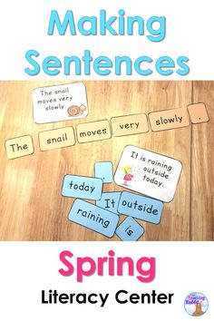 Students will make sentences (spring themed) by arranging the words in each envelope. They can use the answer card to assist them or you can leave it out (depending on their level).