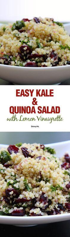 Now this is a superfood salad! Easy Kale & Quinoa Salad with Lemon Vinaigrette.