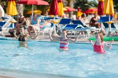 Fitness every morning in the swimming pool for children