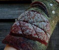 Custom order for Yulia - nuno felted cuff - felt cuff - Felted Cuffs - Felt bracelet - wrist warmer- Forest