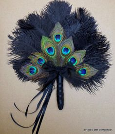 Peacock Decoration Wedding feather fan , with black ostrich feather base Bridal Bouquet alternate accessory Peacock Decor, Peacock Colors, Peacock Theme, Peacock Design, Peacock Wedding, Floral Design, White Peacock, Feather Crafts, Feather Art