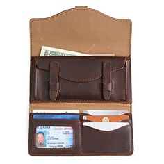 long trifold leather wallet in chestnut leather with full content: money, card, driver's license Full Grain Leather Wallet, Saddleback Leather, Leather Portfolio, Leather Company, Branded Wallets, Rfid Wallet, World Traveler, Leather Satchel, Pouch