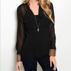 Sheer Blouse with Faux Leather Trim Sheer loose black blouse with brown faux leather trim on collar and cuffs. Two front pockets. Detail with gold button on shoulder. 100% polyester, trim 45% polyester, 45% PVC, 10% PU. No trades. Price is firm unless bundled. Tops