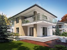 Projekt domu Karat 5 156,82 m2 - koszt budowy - EXTRADOM Simple House Design, Cool House Designs, Modern Family House, Duplex Design, Mediterranean Style Homes, Facade House, Home Fashion, Luxury Homes, Architecture Design