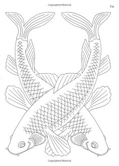 Koi pair japanese embroidery patterns | Patterns to paint, for stencils, scrapbook, card design,embroidery ...