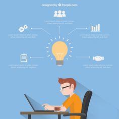 Affaires modèle infographique avec garçon travaillant Vecteur gratuit