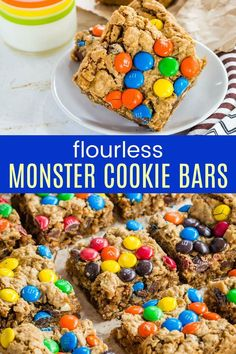 Monster Cookie Bars turn a fully-loaded favorite cookie into easy dessert recipe you can mix in one bowl in under 15 minutes. No flour, so it's gluten free! Delicious Cookie Recipes, Yummy Cookies, Cupcake Recipes, Snack Recipes, Dessert Recipes, Fall Desserts, Free Recipes, Snacks, Chocolate Desert Recipes