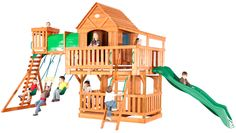 Backyard Discovery. A HUGE playset with raised covered fort, sun porch, elevated tunnel, swings, and covered lower deck. $1,699.00