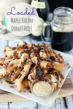 Loaded Maple Bacon Donut Fries | beyondfrosting.com | #maple #bacon #donuts