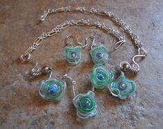 Sterling silver & lampwork glass bead disc choker with earrings by RaptFyre on Etsy