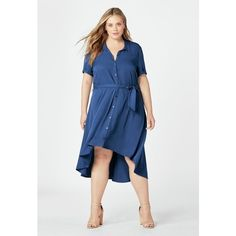 Justfab Knee Length Easy High Low Shirt Dress ($40) ❤ liked on Polyvore featuring plus size women's fashion, plus size clothing, plus size dresses, blue, blue dress, t-shirt dresses, hi lo dress, knee length shirt dress and button up shirt dress