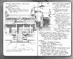 Sketch of Angkor Wat, in Cambodia, by Naomi Leeman