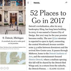 """Some more great reasons to visit (and move) to Detroit! We were just named one of the New York Times """"""""52 Places To Go In 2017""""! Check it out: http://ift.tt/2j5MUzd #cometodetroit #movetodetroit #nytimes #detroit #michigan #placestogo"""