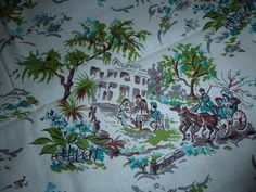 """Vtg Novelty Cotton Fabric Colonial Plantation Motif Turquoise Green 35""""x6+yds"""