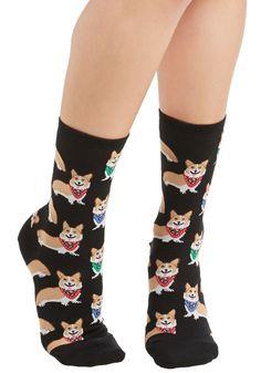 Corgi, Fi, Fo, Fum Socks. Theres no need to fear when these corgi-printed socks are near! #black #modcloth