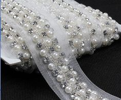 Rhinestone and Pearl Beaded Trim  2 Yards  by OneLittleDreamer, $16.99