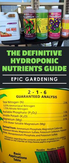 Nutrients Guide Confused by the all of the kinds of hydroponic nutrients available on the market? Learn everything you need to know about nutrients here.Confused by the all of the kinds of hydroponic nutrients available on the market? Learn everything you Hydroponic Farming, Hydroponic Growing, Hydroponics System, Diy Hydroponics, Aquaponics Plants, Backyard Aquaponics, Growing Plants, Permaculture, Backyard Farming