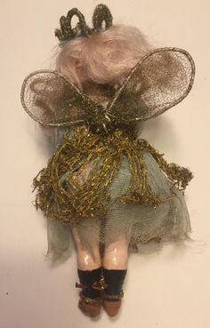 The Sweetest Antique All Original Fairy Doll, Bisque Head Composition Body, German, 6 1/2 inches