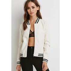 Forever 21 Women's  Perforated Faux Leather Bomber Jacket ($33) ❤ liked on Polyvore featuring outerwear, jackets, bomber style jacket, forever 21, fake leather bomber jacket, bomber jacket and vegan leather jacket