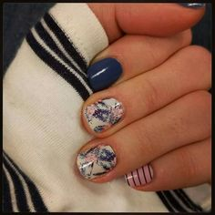 Jamberry Spring 2016 nail wraps Beverly Hills and Tiki Hut mixed with Blue Suede Shoes Jamberry lacquer. Emily Nelson-Jamberry Independent Consultant https://enchantingjams.jamberry.com/us/en/