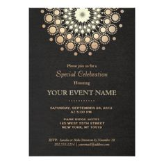 Cocktails Gifts - T-Shirts, Art, Posters & Other Gift Ideas. Black Linen Look Formal Personalized Invitations.