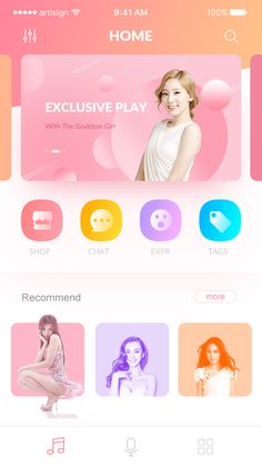 This music app makes elements and color gradients, as well as repeating shapes, part of its portfolio. I like the color scheme and how one of the women at the bottom is out of the frame as if your finger had tapped that icon. Ios App Design, Mobile Ui Design, Interface Design, Site Vitrine, Website Design Layout, App Design Inspiration, Mobile App Ui, Music App, Orange Yellow