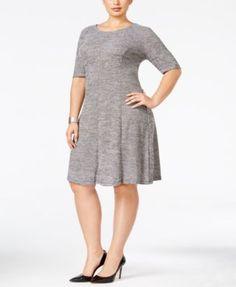Connected Plus Size Knit A-Line Dress | macys.com