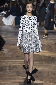 Christian Dior Spring 2016 Couture Fashion Show black anf white mixed print top skirt
