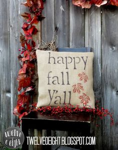DIY Fall Burlap Pillow stenciled with Sharpie Pens - I can even do that!