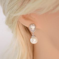 Pearl Jewelry Cubic Zirconia Pearl Bridal by poetryjewelry on Etsy, $34.00