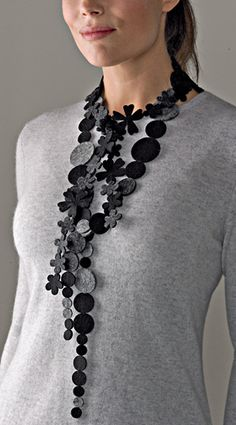 Black and Gray Necklace by Danielle Gori-Montanelli - Dot Necklace (Felt necklace) Beaded Jewelry Patterns, Textile Jewelry, Fabric Jewelry, Felted Jewelry, Jewelry Crafts, Jewelry Art, Jewelry Design, Jewellery, Fashion Jewelry