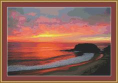 Sunset At The Beach Cross Stitch Pattern by Avalon Cross Stitch on Etsy