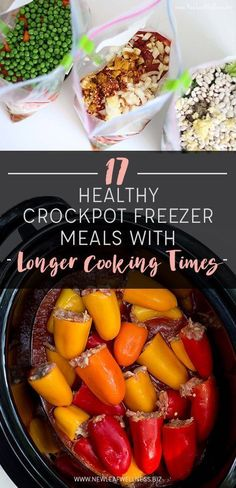 Perfect for long work days! (Free printable recipes and shopping list) // 17 Healthy Crockpot Freezer Meals with Longer Cooking Times