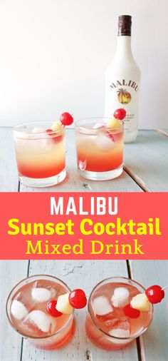 MALIBU SUNSET COCKTAIL MIXED DRINKS #Cocktail #Drinks