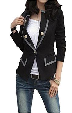 575c78e4 NQ Womens Lapel Slim Fashion Button Sexy Blazer Formal Suit Jacket Black XL  *** To view further for this item, visit the image link.