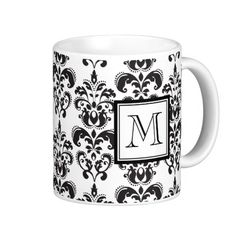 GIRLY BLACK DAMASK PATTERN 2 YOUR INITIAL