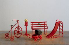 Vintage Miniature Red Metal Bicycle, Gumball Machine, Park Bench, Stroller, Slide - Enesco, Midwest Taiwan
