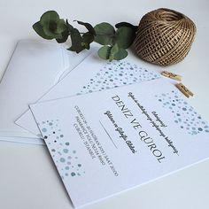 Mavi Konfeti - Modern Düğün veya Nikah Davetiyesi Tasarım: © Dört Köşe Davetiye