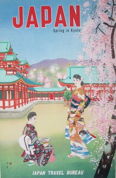 """""""Spring in Kyoto."""" Beautiful vintage #Japan travel poster with cherry blossoms."""