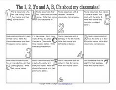 Get to know 1,2,3 and A,B,C - Free to print.  Fab First Day activity.