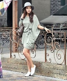 casual dress-Korean street fashion so cute! reminds me of Paris lol