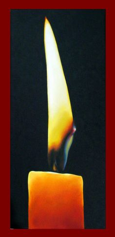 candle and flame - love the image of a quiet, burning candle. painting is oils on canvas and is 8x18