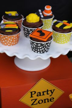 Construction Zone Birthday Party Cupcakes