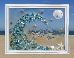 Unique beach window art by Luminosities! Blue abalone shell wave crashing on the… - Cool Glass Art Designs Sea Glass Crafts, Sea Crafts, Sea Glass Art, Stained Glass Art, Nature Crafts, Resin Crafts, Seashell Art, Seashell Crafts, Beach Pink