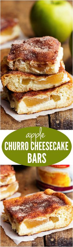 Delicious cinnamon sugar churro bars with a creamy cheesecake and apple center. This is one delicious dessert bar that tastes like you are eating a churro!