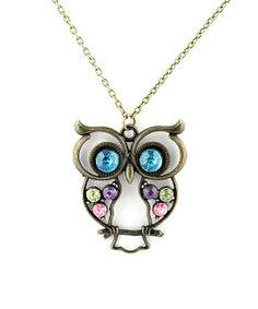 Gold & Blue Crystal Owl Pendant Necklace