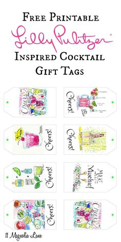 """Lilly Pulitzer inspired """"Cheers"""" cocktail party free printable gift tags; perfect for hostess gifts or styling your Palm Beach bar cart 