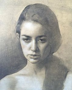 Amaya Gurpide, first stages of a pencil drawing focusing on female portrait shape design. Graphite and white chalk on hand toned paper.