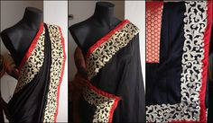 Black Baroque saree for sale! Rs. 3500   Black kashmiri silk saree with a black and dull gold baroque border with orangish red piping.  Blouse - Orangish red semi brocade with gold polkas.